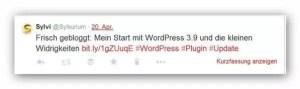Tweet über dlvr.it mit Hashtags