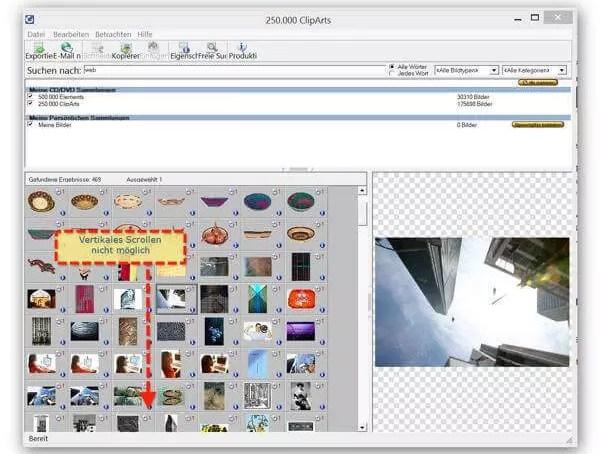 Vertikales Scrollen in Software nicht möglich