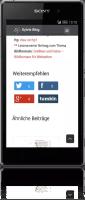 Social Media-Buttons-Anzeige im Smartphone