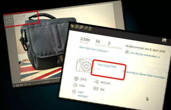 Exifdaten in Lightroom und bei Flickr