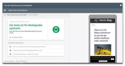 Webseite für Mobilgeräte optimiert