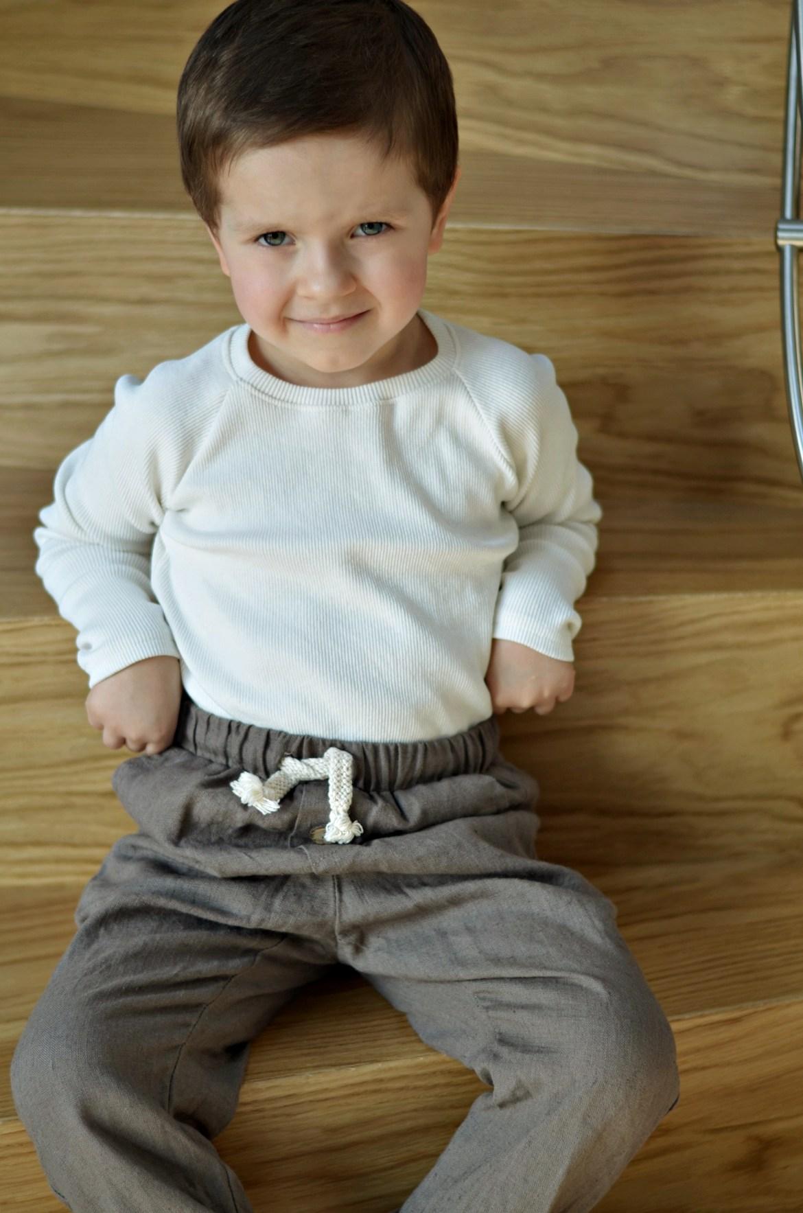 spodnie lniane dla chłopca