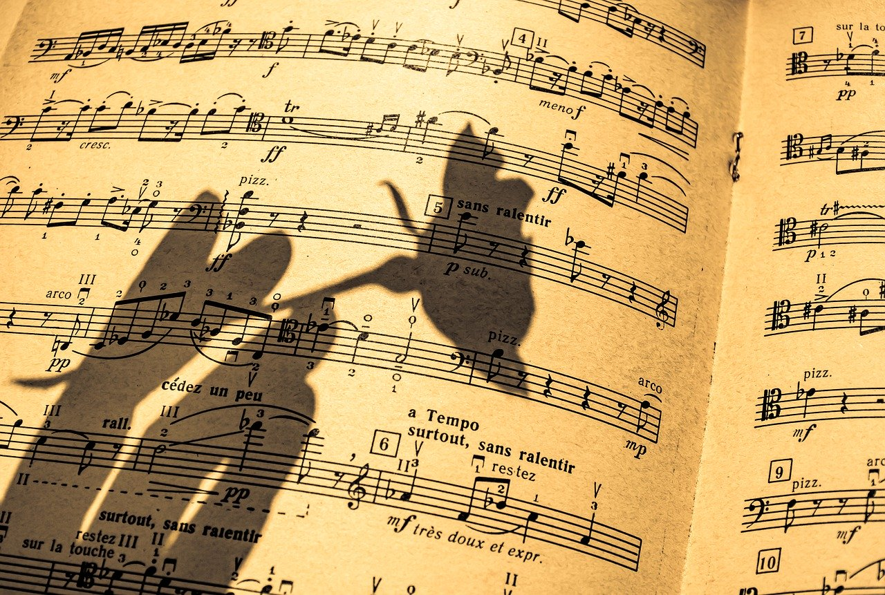 music sheet, in a shadow, flute