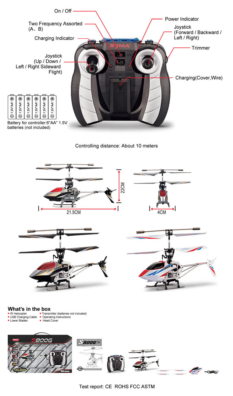 Syma S800G 4CH RC helicopter with GYRO Black (Out of stock)