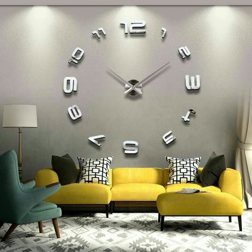 Modern DIY Large 3D Mirror Effect Wall Clock price in Pakistan at SymbiosPK