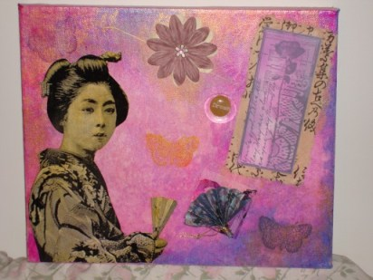 Madame Butterfly - mixed media, 25cm x 30cm, August 2007