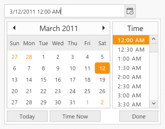 Widget for picking date and time values