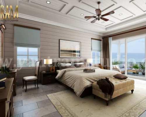 Master Bedroom with Species Balcony 3d interior rendering ...