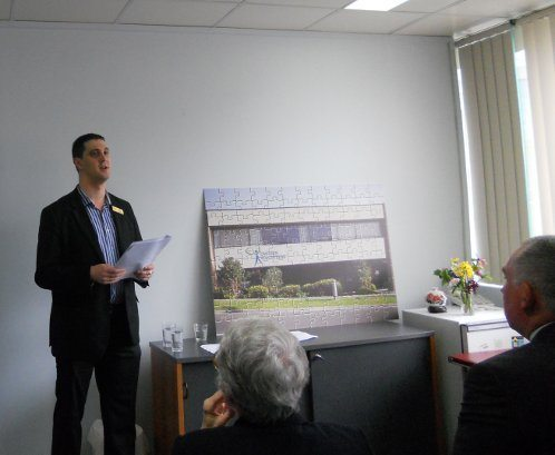 Alex speaking at the launch of the Eastern Volunteers Building Fund