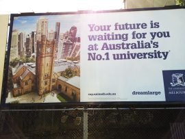 Melbourne University advertisement at South Yarra Station