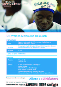 Flyer used for the UN Women Melbourne Chapter Relaunch