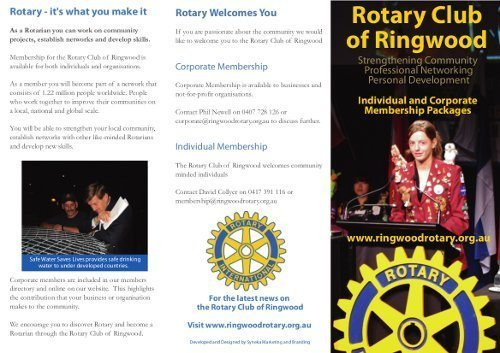 The front cover and panels for the Rotary Club of Ringwood Brochure