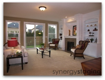 Living Room staged by Synergy Staging in Newberg