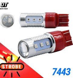 details about syneticusa 7443 red led strobe flash blinking brake tail light parking bulbs [ 1000 x 1000 Pixel ]