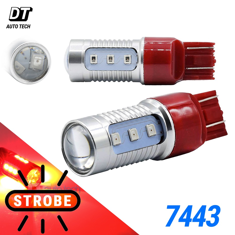 hight resolution of details about syneticusa 7443 red led strobe flash blinking brake tail light parking bulbs