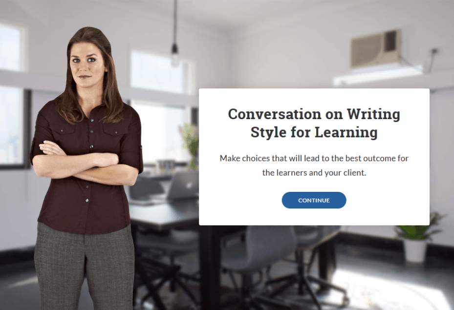 Conversation on Writing Style for Learning. Branching scenario start screen.