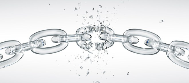 A glass chain with one link shattering