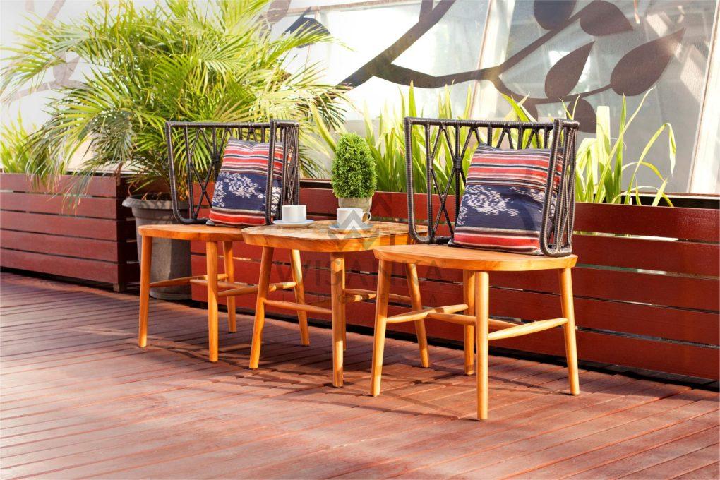 Alvira Rattan Wooden Terrace Set | Alvira Outdoor Rattan Terrace Set
