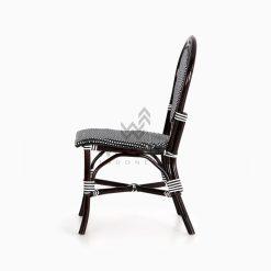 Iry Black Dining Arm Wicker Bistro Chair side