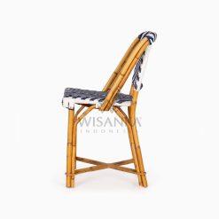 Jova Wicker Rattan Blue White Bistro Chair side