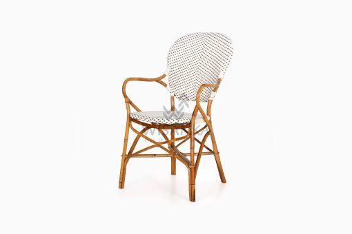 Tira Wicker White Bistro Chair perspective