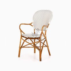 Tira Wicker White Bistro Chair perspective