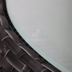 Huvan Rattan Outdoor Wicker Coffee Table Black Detail 2