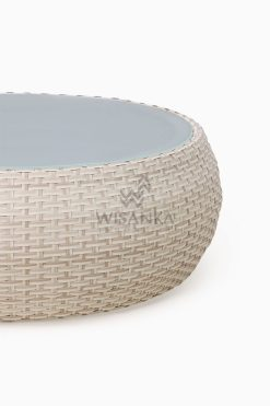 Huvan Rattan Outdoor Wicker Coffee Table White Detail