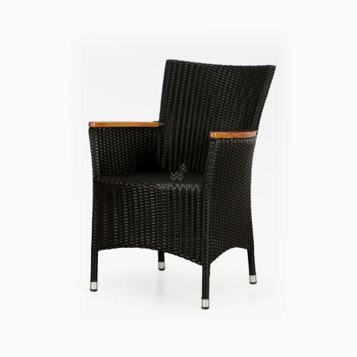 Nova Dining Chair Black with Wooden Arm - Outdoor Rattan Garden Furniture