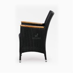 Nova Dining Chair Black with Wooden Arm side - Outdoor Rattan Garden Furniture
