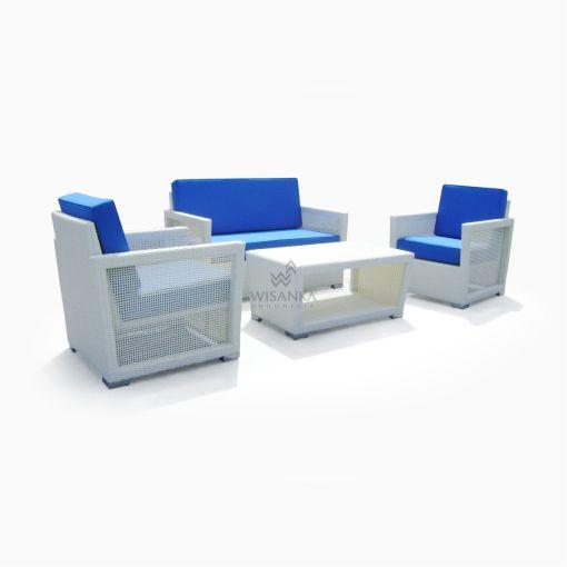 Derby Living Set - White Rattan Furniture