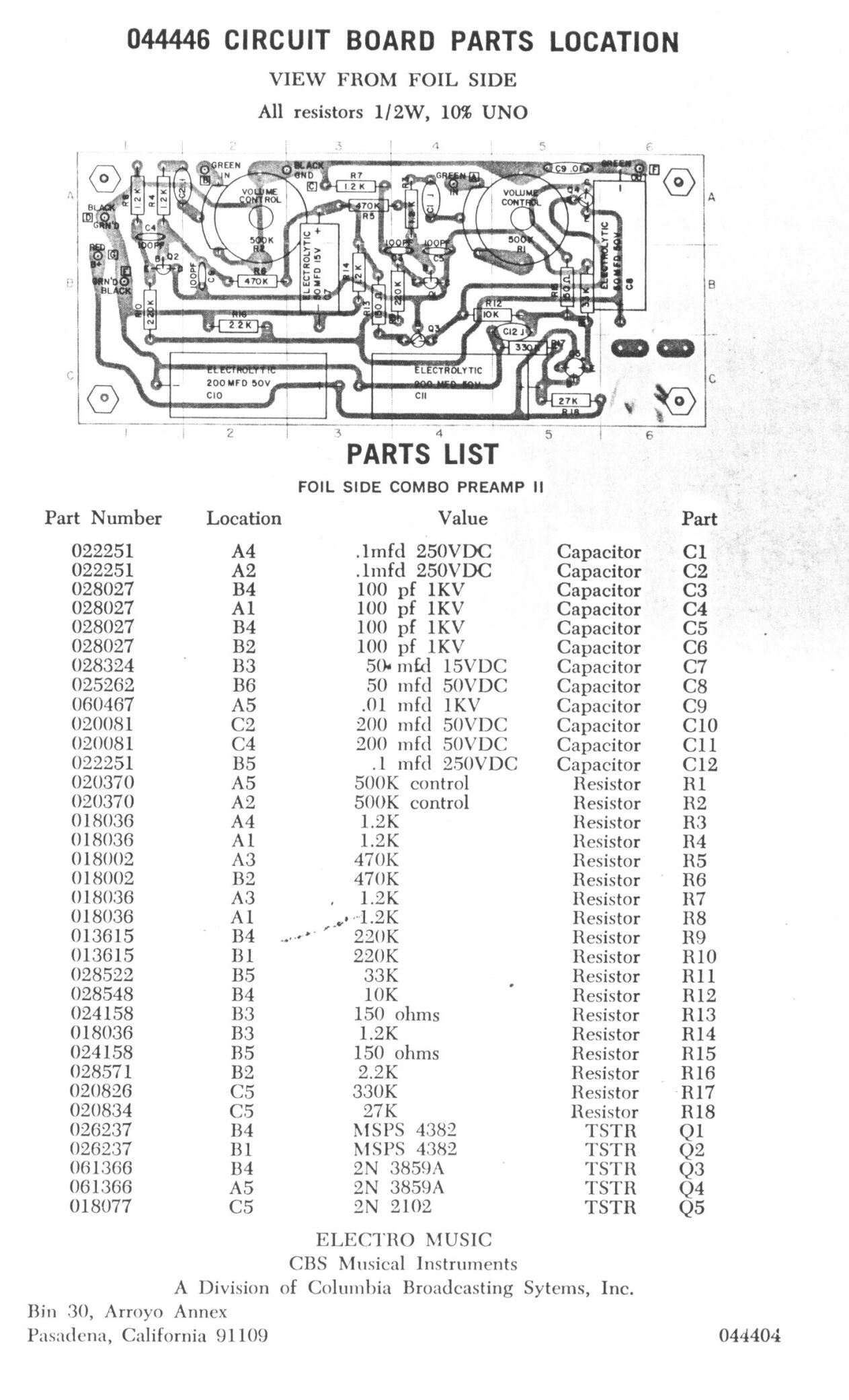 Synthfool:Docs:Leslie:Leslie Combo Preamp II Service Manual