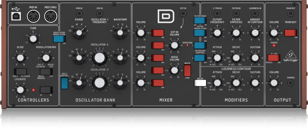 behringer d analog synthesizer available to pre