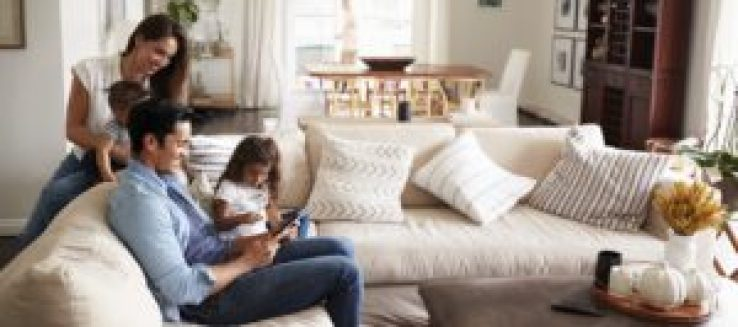 family thinking of refinancing their home shops their options online