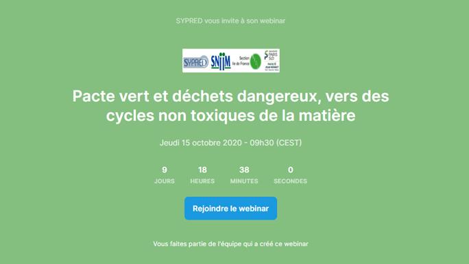 Colloque SYPRED/SNIIM/SFDE/PSU Pacte Vert et déchets dangereux : vers des cycles non toxiques de la matière – les nouveautés réglementaires
