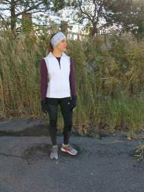 Dress for success! Many Central New York runners and walkers brave the elements to enjoy the fresh air year-round. The best way to be prepared is to layer up and be ready for anything! Laura is wearing a a plum Adidas Climacool shirt ($55); a white Brooks vest ($110) with zippered pockets to hold her keys, phone or nutrition; and Nike Epic Run tights ($80) to keep her warm and fast on her run. She's also wearing a Fleet Feet Sports exclusive shoe, the Karhu Synchron ($160). And don't forget the accessories! She's prepared for the elements with Saucony run mittens ($40); a Sauce insulator headband ($25); and purple Goodr sunglasses ($25), which are lightweight, polarized and won't slide off during the run.