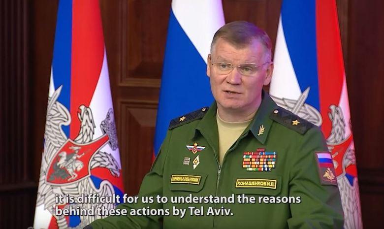Le porte-parole du ministère russe de la défense, le général Igor Konachenkov, lors du briefing spécial sur le crash de l'avion Il-20 en Syrie