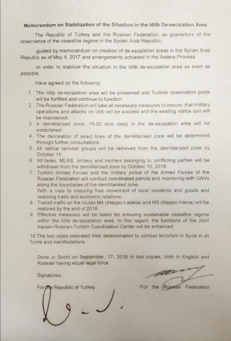 Copie du mémorandum sur la stabilisation de la zone de désescalade dans la région d'Idlib