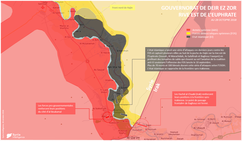 Situation militaire au 28 octobre 2018 à l'est de l'Euphrate, Gouvernorat de Deir Ez-Zor.