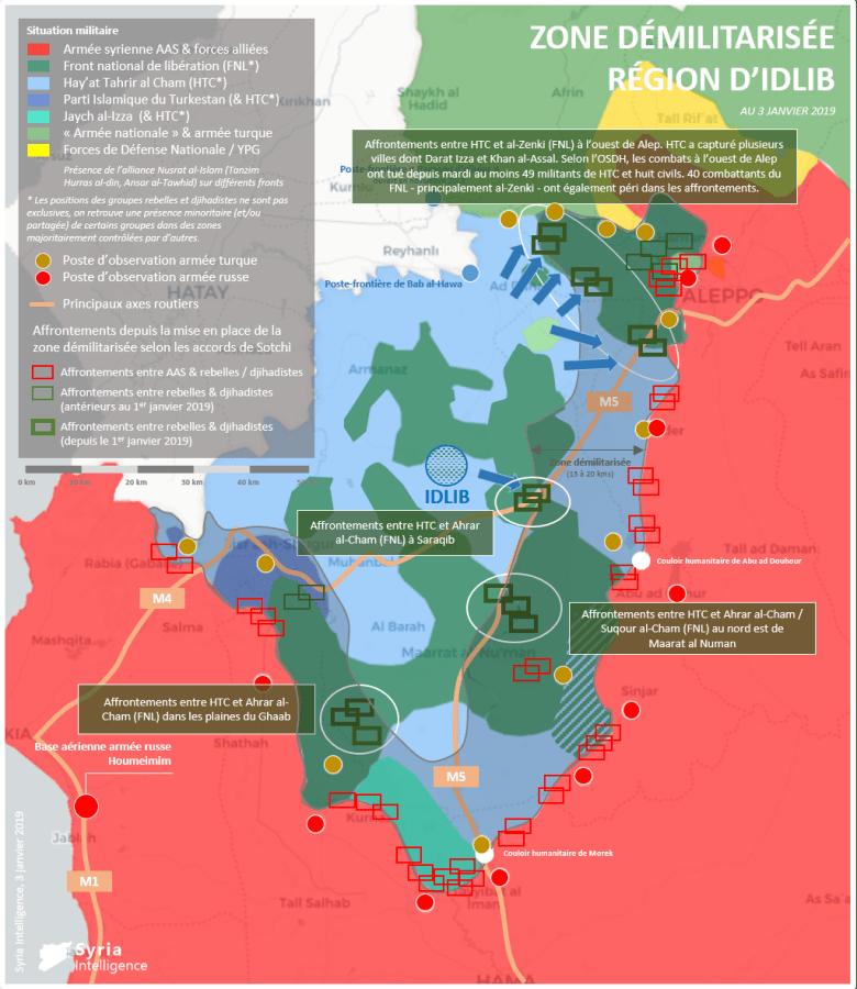 Situation militaire dans la région d'Idlib au 03 janvier 2019. Affrontements entre HTC et le FNL