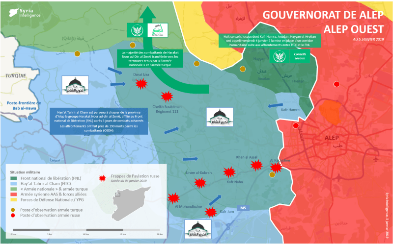 Situation militaire au 05 janvier à l'ouest de Alep qui présente les avancées de HTC face au mouvement Nour al-din al-Zenki à l'ouest de Alep