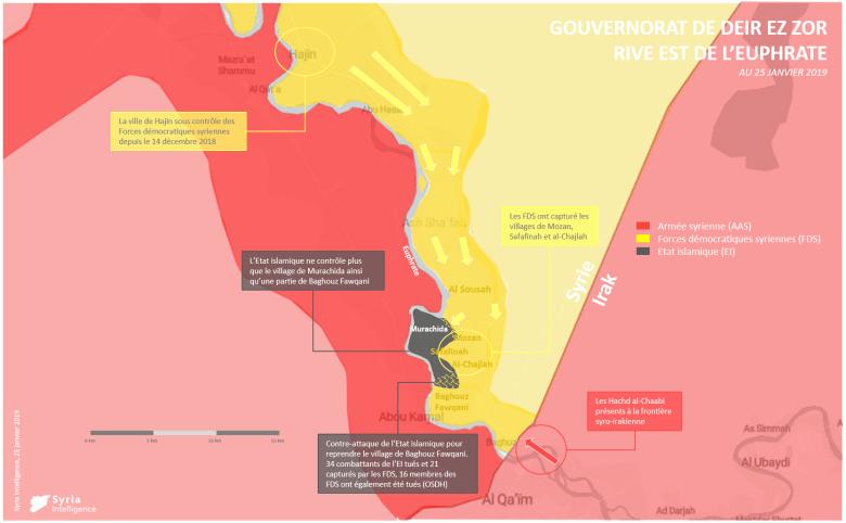 Gouvernorat de Deir Ez-Zor : front autour de la poche de Hajin, à l'est de l'Euphrate (25 janvier 2019)