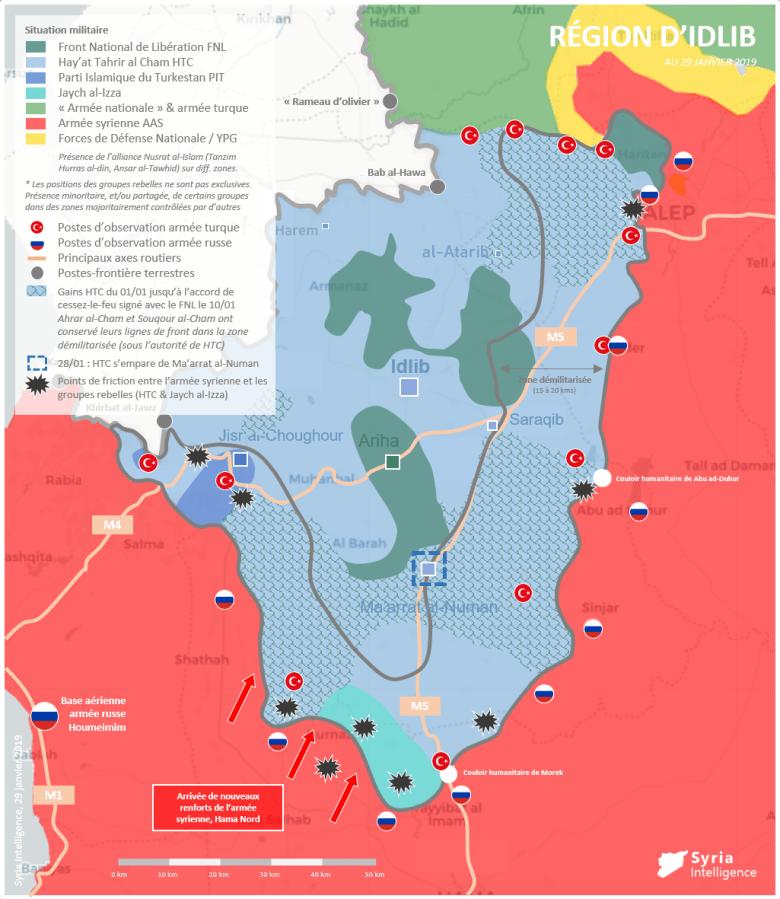 Situation militaire dans la région d'Idlib au 29 janvier 2019 : HTC impose son contrôle sur Ma'arrat al-Numan