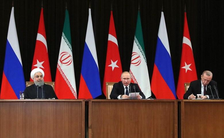Conférence de presse des présidents Poutine, Rouhani et Erdogan après le sommet le Sotchi, le 14 février 2019 (image Kremlin.ru)