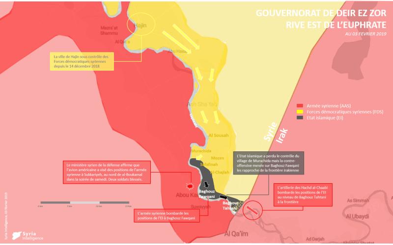 Gouvernorat de Deir Ez-Zor : front autour de la poche de Hajin, à l'est de l'Euphrate (03 février 2019)