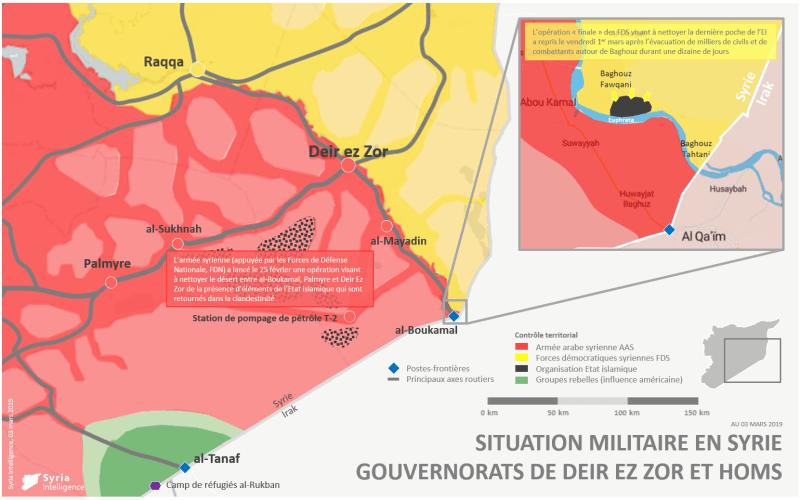 Gouvernorat de Deir Ez-Zor et Homs : front de Baghouz et opération de l'armée syrienne dans le désert