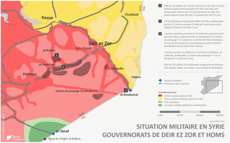 Situation militaire dans les gouvernorats de Deir Ez-Zor et Homs au 20 avril 2019