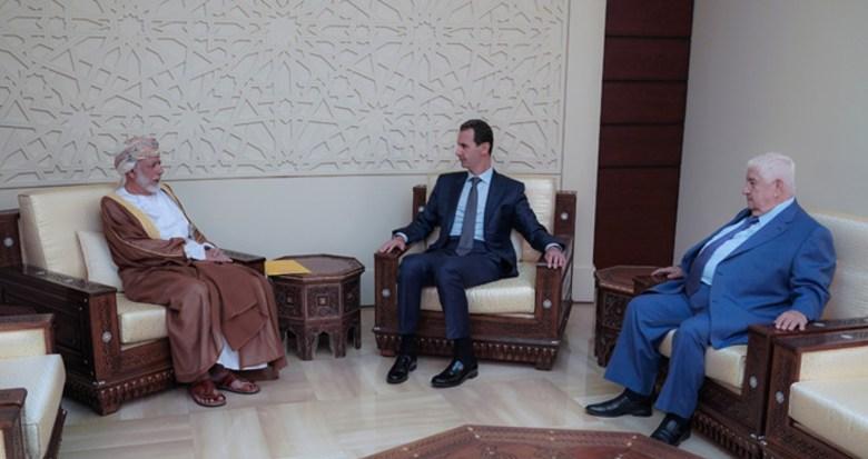 Le président Assad a reçu dimanche à Damas le ministre des Affaires étrangères du Sultanat d'Oman, Youssef Bin-Alawi Abdullah (image SANA)