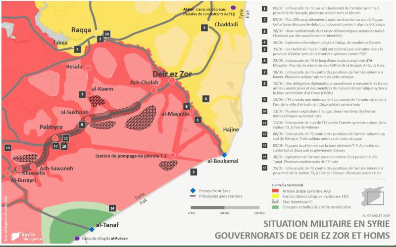 Situation militaire dans les gouvernorats de Deir Ez-Zor et Homs au 05 juillet 2019