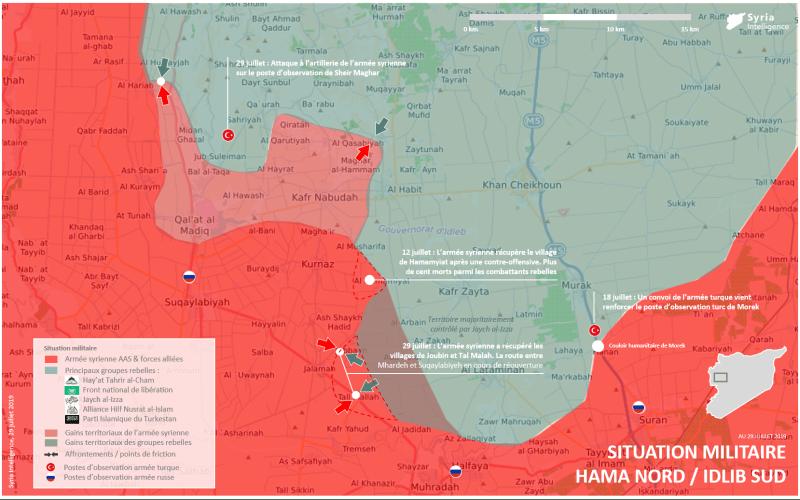 Carte détaillée de la situation militaire à Hama nord, Idlib sud au 29 juillet 2019